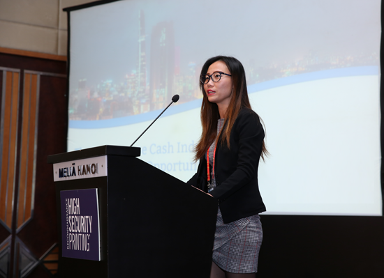 Quynh Lu speaking at Reconnaissance High Security Printing Asia 2018